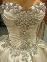 Wholesale Vestido De Noiva Wedding Dresses Ball Gown Designer New Strapless Crystal Pearls Embroidery For Church Wedding With Long Court Train