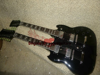 Wholesale 6 strings Double Neck Led Zeppeli Page Signed Aged black body strings Electric guitar