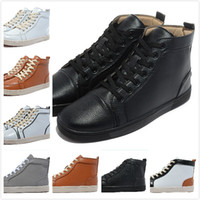 Wholesale 2015 New Men s Women s Genuine Leather High Top Fashion Red Bottom Sneakers Lovers Designer Good Quality Sheepskin Casual Shoes