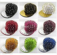 Cheap 12 colors Punk Hip-hop Spikes Rivets Spiked SnapBack baseball hat Studded Cap Adjustable top sale free shipping