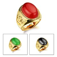 Men's agate ring adjustable - 18K gold plated rings agate mens adjustable wedding ring