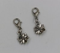 lobster clasp charms - Hot sell Tibetan Silver Alloy Double sided Flower Dangle Bead And lobster clasp Dangle Bead fits European Charm Bracelets x