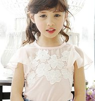 plain t shirts - For Big Girls T shirts Tops Girl Plain Solid Puff Short Sleeve T Shirt Baby Clothes Summer Korean Children Clothing White Pink I3315
