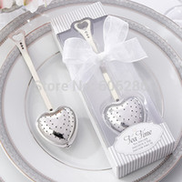 Wholesale Stainless Steel Heart Shaped Spoons - 50pcs lot Stainless steel heart shape tea infuser spoon with white gift box tea party supplies wedding return gift 100pcs wholesale