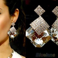 Cheap Fashion Women Square Crystal Luxury Sparkling Big Drop Earrings for women 023K