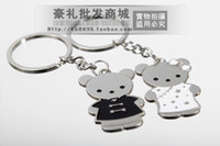 Wholesale 10 Pairs Lover Key Chain Metal Key Ring Key Holder Cartoon Bear Couple Gift