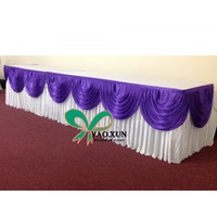 Wholesale White Color Ice Silk Table Skirt With Purple Swags For Wedding Decoration