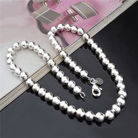 Wholesale 8MM sterling silver plated beads choker necklace fashion jewelry pretty cute wedding gift Top quality