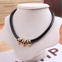big gold rope chain - European and American big new jewelry Ms exaggerated personality skull decorated leather cord necklace collarbone chain