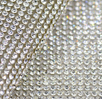 Wholesale Free shippment mm clear glass rhinestone Beaded trim Hotfix or self Adhesive strass Applique Banding Diamond mesh roll for diy Decoration