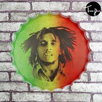 Wholesale 40cm Round Bob Marley Wailing Wailers Catch A Fire from Jamaica beer Sign Metal Art Poster