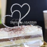 achat en gros de petits gâteaux d'anniversaire-Diamante strass coeur d'amour de gâteau de mariage Anniversaire Décor romantique petite commande pas de suivi