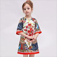 best clothing style - Wl monsoon Spring Childrens Clothing Kids Elegant Round Neck Dress Best Sale American Style Girls Floral Princess Dress