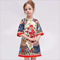american clothing - Wlmonsoon Spring Childrens Clothing Kids Elegant Round Neck Dress Best Sale American Style Girls Floral Princess Dress