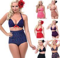 Wholesale 40pc Push up High Waist Swimsuit XL XXXL XXL Women Sexy Bathing Suit Padded Bikini set Retro Beachwear Plus Size Swimwear