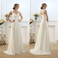 Wholesale Silver Maternity Wedding Gowns - Vintage Modest Wedding Gowns Capped Sleeves Empire Waist Plus Size Pregant Wedding Dresses Beach Chiffon Country Style Bridal Gown Maternity