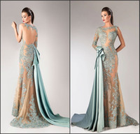 art middle east - Zuhair Murad Muslim Evening Dresses See Through Cocktail Formal Gowns Sexy Back Long Mermaid Prom Dressed Middle East Dress Sleeves