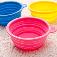 Wholesale CA106 dog rabbit bowl basin out water bowl Cat Pet Portable Feeding Bowl Silicone telescopic bowl bone Collapsible travel Food