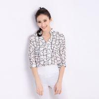 Wholesale Fashion Women Chiffon Blouse Contrast Pattern Buttons Asymmetric Hem Stand Collar Striped Sleeves Loose Shirt Tops