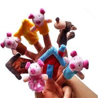 Wholesale Hot Selling set sets The three little pigs story Finger Puppets Funny Plush Dolls Family Story Children Baby Games