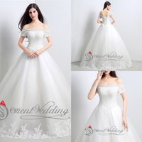 Wholesale 2015 Real Photos Sexy Bateau In Stock A Line Wedding Dresses With Poet Short Sleeve Shining Sequins Applique Floor Length Bridal Gowns