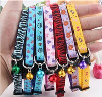safety clothing - Glossy Reflective Cat Collar Safety Buckle Small Dog Puppy Cat Collar with Bell clothes for dogs