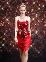 Wholesale Tassel Sequin Roaring s s Gatsby Girl Ladies Flapper Dance Costume Dress Female for Great Gatsby Party Water Drop Mesh V Neck Vintage
