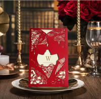 Cheap 2015 Unique Red Hollow Wedding Invitation Card Romantic Groom&Brides Laser Cut Wedding Invitations Free Envelope Blank Page ZC0422