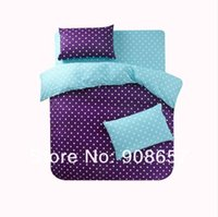 aqua dots set - purple aqua polka dot prints girls bedding set cheaper bed sheets cotton home textile queen full quilt duvet covers sets pc pc