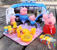 Wholesale Hot Toys For Children s Play peppa Pink Pig Family With Car Ornaments Doll Cutlery Gifts For Kids