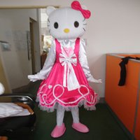Wholesale adult mascot costume Hello KT Cat Mascot Cartoon Costume Cat Mascot Costume Adult Size Fancy Dress piece