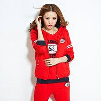 Wholesale 2014 new Korean ladies hooded sweater plus thick velvet three piece female autumn and winter leisure sports suit