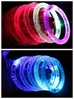 Wholesale Flashing LED bracelet Party Disco Glowing tool color bracelet Blinking Crystal bracelet Christmas Gift DHL MOQ SVS0314