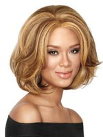 american temperature - Hot Selling Flax Yellow European and American Women Wig Lady Medium Long Synthetic Hair High Temperature Female Curly Wigs
