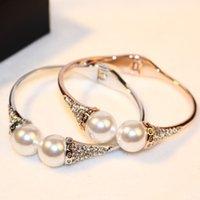 Alta calidad accesorios de la joyería de la marca de moda H amor 18k oro grande perlas dobles CZ pulsera de diamantes para las mujeres de la boda parte femme puño
