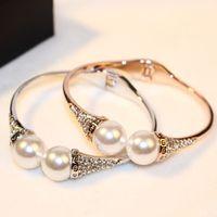 big love pearls - high quality jewelry accessories fashion brand H love k gold big double pearls CZ diamonds bracelet for women wedding part femme cuff