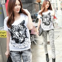 Wholesale Korean female short sleeved t shirt tide summer new loose on the streets to fight shoulder lace round neck T shirt big yard