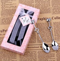 Wholesale Double Heart Coffee Spoons Wedding favors gifts