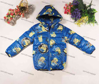 Wholesale children minion jacket clothes hot cartoon despicable me babys kids winter warm cotton padded jacket Down Coat boys girl zipper hoodie