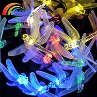garden angels - 20LEDs Decoration Color Changing Waterproof Outdoor Party Christmas Dragonflies Solar Power Garden String Lights
