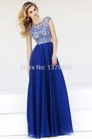 boat t shirts - prom gowns Vestidos De Chiffon Gala New Custom Made Cap Sleeve Boat Neck Royal Blue Beaded Prom Dresses Long To Party abendkleider