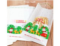 bakery packaging supplies wholesale - Hot Santa Claus Christmas Candy Cookies Plastic Bags Kitchen Bakery Roast Cake Snack Food Package Xmas Party Gifts Decorations Supplies
