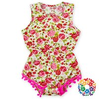 Wholesale Hot Selling Baby Sleeveless Rompers Cotton Pom Poms Baby Romper Clothes Baby Rose Floral Patterns Romper For Newborn Baby