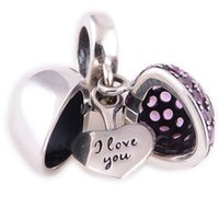 925 necklace - Purple open heart I love You dangle silver crystal i love u charms Heart Love charms fit European Bracelets No95 S050