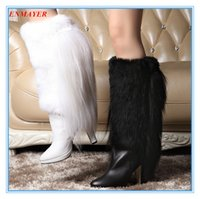 Wholesale ENMAYER Luxury grade leather boots wool women Cow Muscle Pointed Toe High snow boots Mid Calf boots for womem Black White