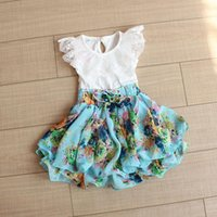floral print dress - Lace Collar Girls Cute Floral Dresses Childrens Clothing Baby Girls Fashion Bow Collect Waist Dresses Girls Kids Printing Flower Dresses