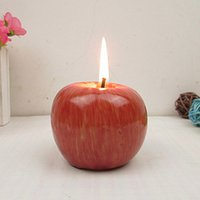 Wholesale 2015 vintage paraffin wax christmas candles Fruit Scented Home Decor fashion Apple shape candles for wedding Christmas Birthday gift