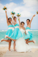 Wholesale 2015 Turquoise Cheap Chiffon Bridesmaid Dresses Short White Ribbons Formal Junior Dresses Strapless A Line Beach Wedding Party Dresses