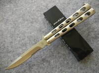 knife blades - BM S BM32S BK32 Balisong Butterfly knife Cr13MoV steel satin Serrated Folding blade Pocket knife knives New in retail box Champagne