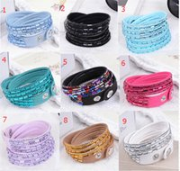 Wholesale 21 different colors Rhinestone women bracelets Charm Bling PU leather wristband Diamond crystal Luxury jewelry wrap bracelet bangle hot